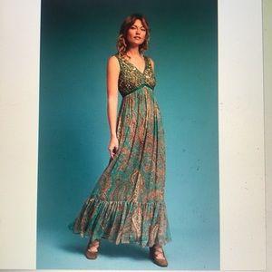 Beaded Paisley Maxi Dress RANNA GiLL Anthro. 8